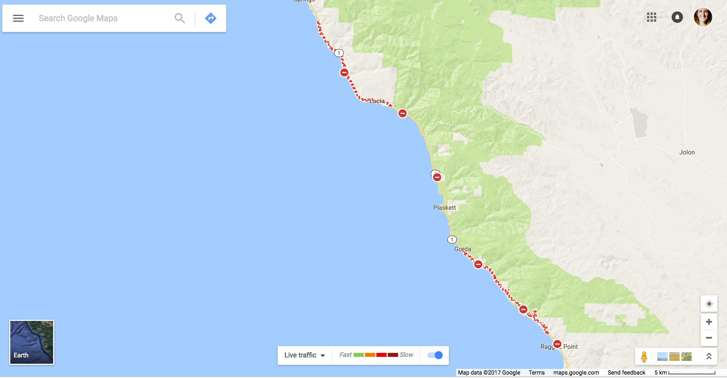 California Scheming Google Maps The Highway 1 Detour - Google Maps Us 101